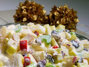 como hacer ensalada de manzana navideña